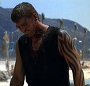 George clooneys tattoo in from dusk till dawn to reveal a full arm tattoo in the last five minutes of the movie maxwellsz